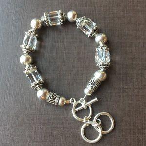 Sterling silver and crystal bracelet.